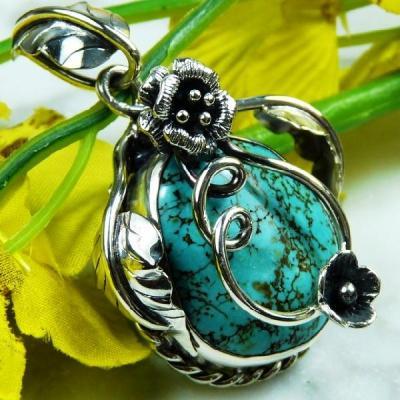 Tqa 129a pendentif pendant en turquoise bleue argent 925 achat vente bijoux ethniques