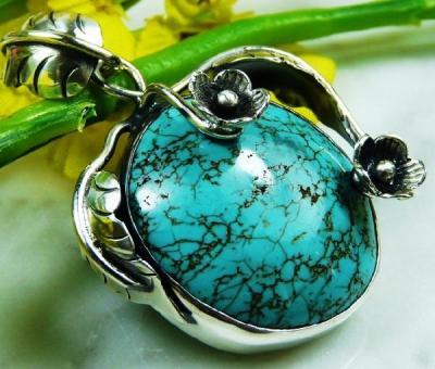 Tqa 131a pendentif pendant en turquoise bleue argent 925 achat vente bijoux ethniques