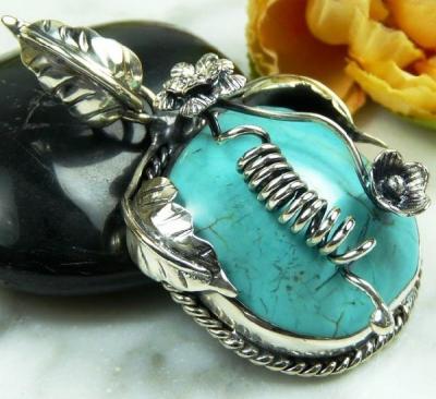 Tqa 132a pendentif pendant en turquoise bleue argent 925 achat vente bijoux ethniques
