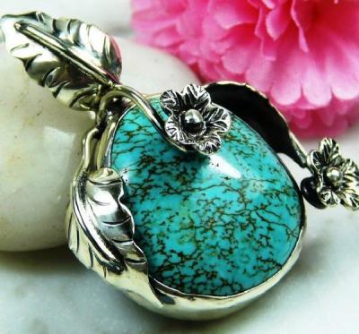 Tqa 134a pendentif pendant en turquoise bleue argent 925 achat vente bijoux ethniques