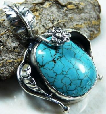 Tqa 135a pendentif pendant en turquoise bleue argent 925 achat vente bijoux ethniques