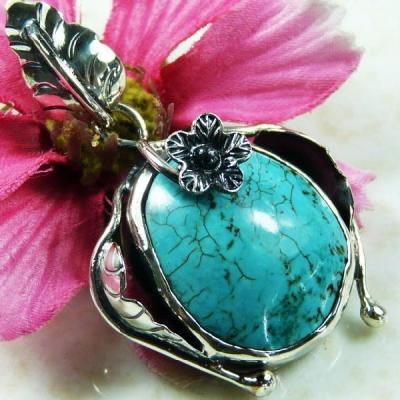 Tqa 136a pendentif pendant en turquoise bleue argent 925 achat vente bijoux ethniques
