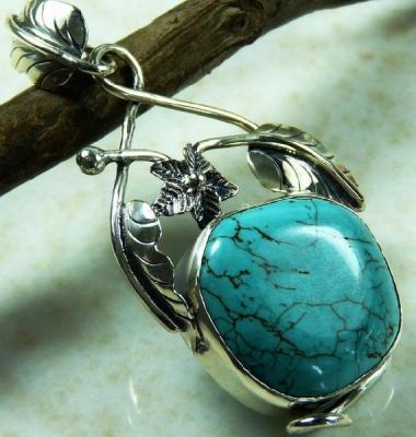 Tqa 137a pendentif pendant en turquoise bleue argent 925 achat vente bijoux ethniques