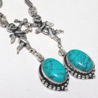 Tqa 145c boucles oreilles ange turquoise achat vente bijou argent 925 1