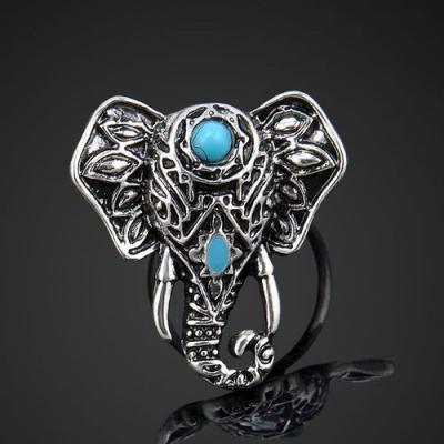 Tqa 154a bague chevaliere elephant turquoise achat vente bijou argent 925