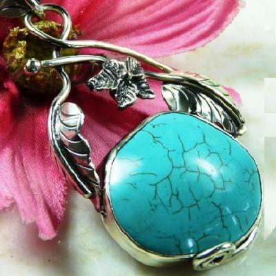 Tqa 168c pendentif pendant 68mm turquoise achat vente bijou argent 925