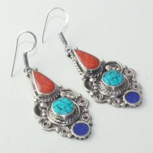 Tqa 169a boucles oreilles tibet orientale turquoise corail lapis lazuli achat vente argent 925