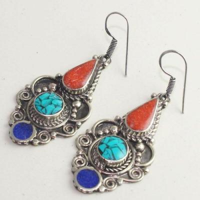 Tqa 169b boucles oreilles tibet orientale turquoise corail lapis lazuli achat vente argent 925