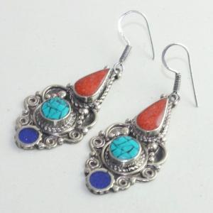 Tqa 169c boucles oreilles tibet orientale turquoise corail lapis lazuli achat vente argent 925