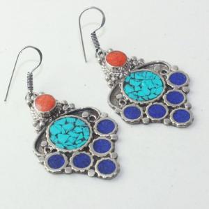 Tqa 171a boucles oreilles tibet orientale turquoise corail lapis lazuli achat vente argent 925
