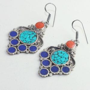 Tqa 171b boucles oreilles tibet orientale turquoise corail lapis lazuli achat vente argent 925