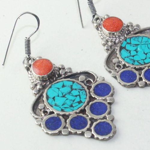 Tqa 171c boucles oreilles tibet orientale turquoise corail lapis lazuli achat vente argent 925