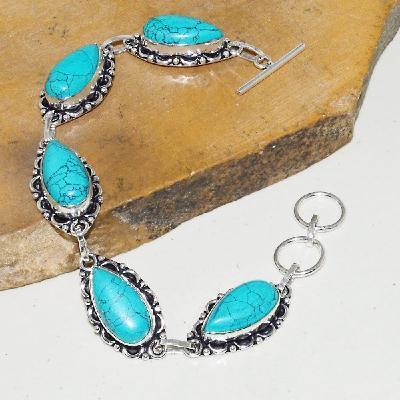 Tqa 172a bracelet turquoise bleue 10x20mm achat vente bijoux argent 926