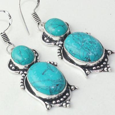 Tqa 175c boucles pendants oreilles 50mm 14gr turquoise 15mm achat vente bijou argent 925