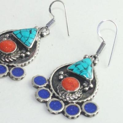 Tqa 176b boucles oreilles tibet orientale turquoise corail lapis lazuli achat vente argent 925