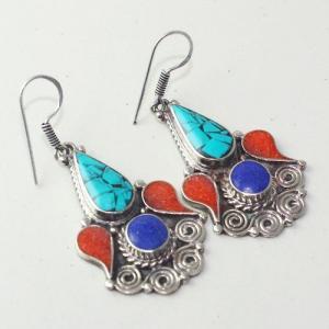 Tqa 201a boucles oreilles tibet orientale turquoise corail lapis lazuli achat vente argent 925