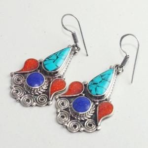 Tqa 201b boucles oreilles tibet orientale turquoise corail lapis lazuli achat vente argent 925