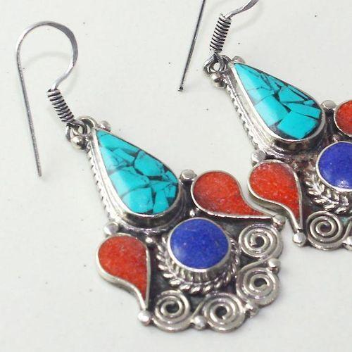 Tqa 201c boucles oreilles tibet orientale turquoise corail lapis lazuli achat vente argent 925