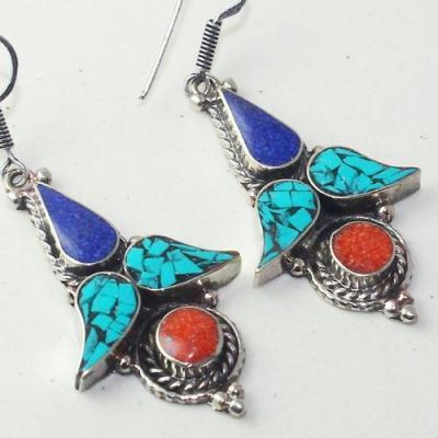 Tqa 202c boucles oreilles tibet orientale turquoise corail lapis lazuli achat vente argent 925