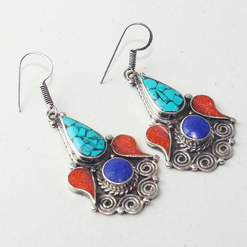Tqa 203a boucles oreilles tibet orientale turquoise corail lapis lazuli achat vente argent 925