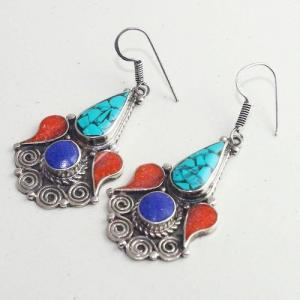 Tqa 203b boucles oreilles tibet orientale turquoise corail lapis lazuli achat vente argent 925