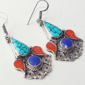 Tqa 203c boucles oreilles tibet orientale turquoise corail lapis lazuli achat vente argent 925