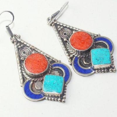 Tqa 206c boucles oreilles tibet orientale turquoise corail lapis lazuli achat vente argent 925