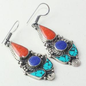 Tqa 207a boucles oreilles tibet orientale turquoise corail lapis lazuli achat vente argent 925