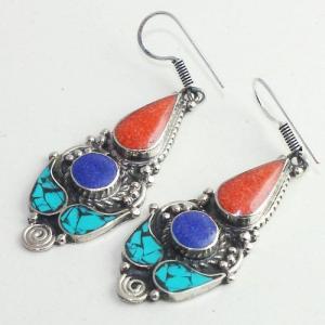 Tqa 207b boucles oreilles tibet orientale turquoise corail lapis lazuli achat vente argent 925