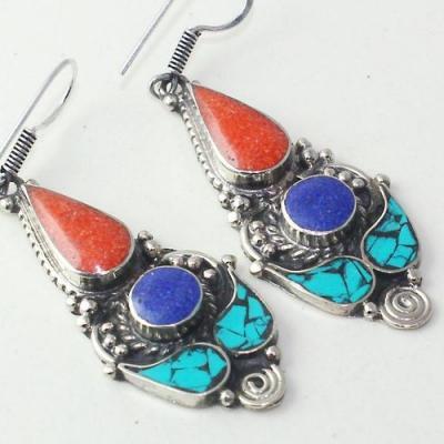 Tqa 207c boucles oreilles tibet orientale turquoise corail lapis lazuli achat vente argent 925
