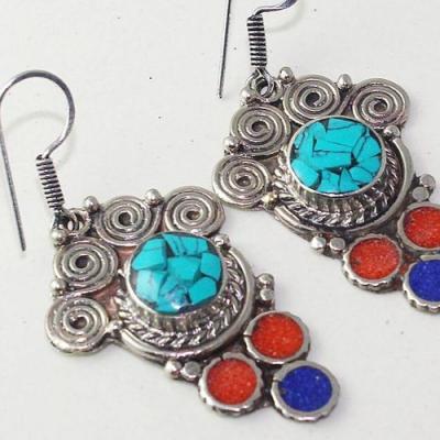 Tqa 208c boucles oreilles tibet orientale turquoise corail lapis lazuli achat vente argent 925