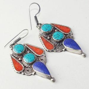 Tqa 209a boucles oreilles tibet orientale turquoise corail lapis lazuli achat vente argent 925