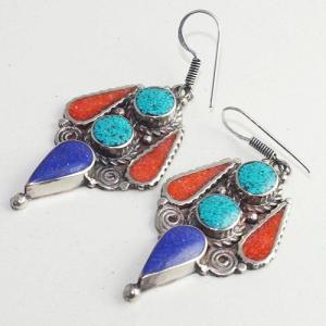 Tqa 209b boucles oreilles tibet orientale turquoise corail lapis lazuli achat vente argent 925