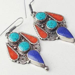 Tqa 209c boucles oreilles tibet orientale turquoise corail lapis lazuli achat vente argent 925