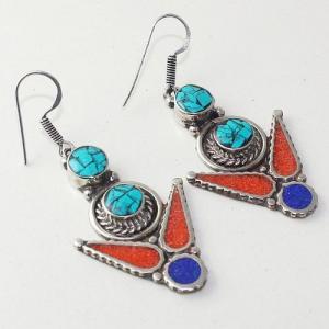 Tqa 210a boucles oreilles tibet orientale turquoise corail lapis lazuli achat vente argent 925
