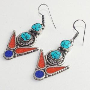 Tqa 210b boucles oreilles tibet orientale turquoise corail lapis lazuli achat vente argent 925