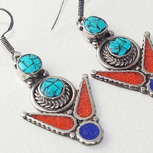 Tqa 210c boucles oreilles tibet orientale turquoise corail lapis lazuli achat vente argent 925