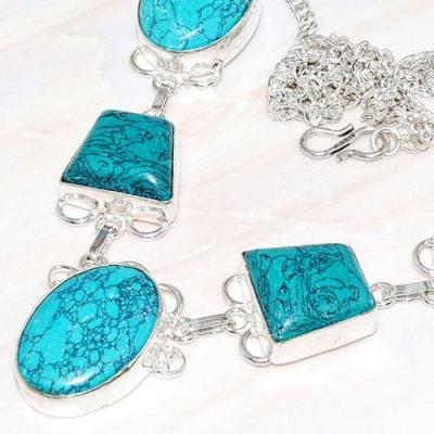 Tqa 212b collier parure sautoir turquoise synthetique tibet oriental achat vente bijou argent 925
