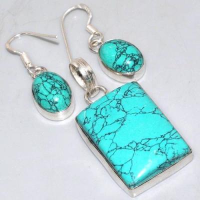 Tqa 218a pendentif boucles oreilles turquoise achat vente bijou argent 925