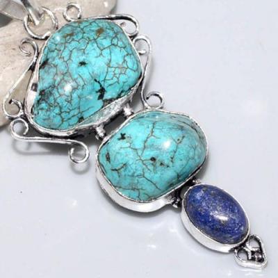 Tqa 219c pendentif lapis turquoise achat vente bijou argent 925