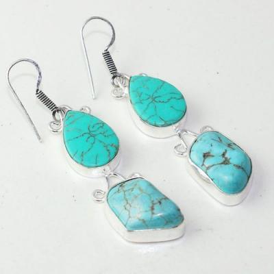 Tqa 222a boucles oreilles tibet turquoise ethnique orientales achat vente bijou argent 925