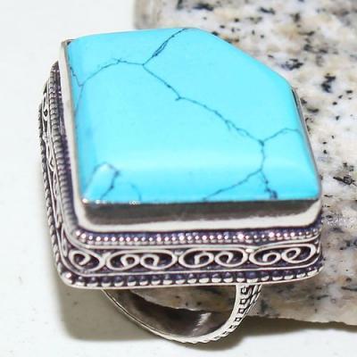 Tqa 229a bague chevaliere t57 22x22mm turquoise bleue tibet achat vente bijou argent 925