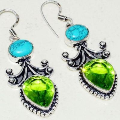 Tqa 240c boucles pendants oreilles turquoises lapis corail tibet achat vente bijou argent 925