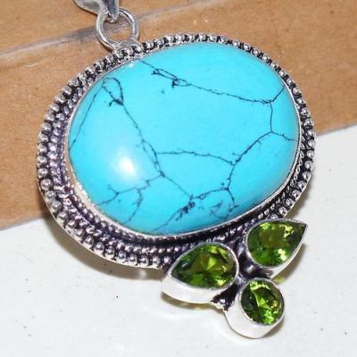 Tqa 242c pendentif pendant turquoise howlite 24x32mm achat vente bijou argent 925