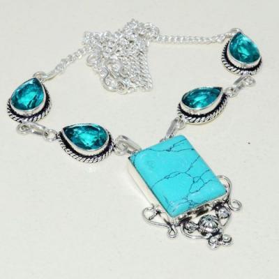Tqa 256a collier parure sautoir turquoise aigue marine 29gr tibet achat vente bijou argent 925