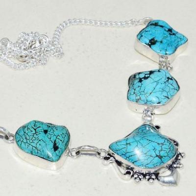 Tqa 259b collier parure sautoir turquoise 32gr tibet achat vente bijou argent 925