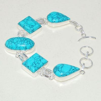 Tqa 270a bracelet 52gr turquoise howlite 15x20mm achat vente bijou ethnique argent 925