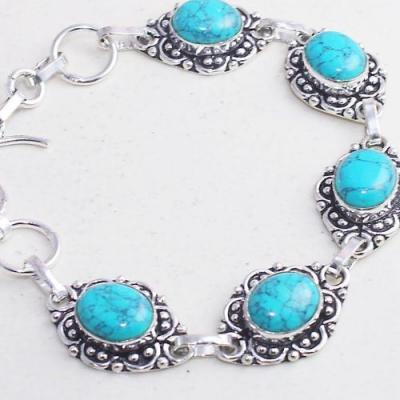 Tqa 280b bracelet 17gr turquoise howlite 8x12mm achat vente bijou ethnique argent 925