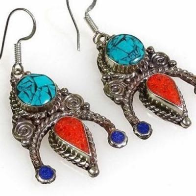 Tqa 284c boucles oreilles tibet orientale turquoise corail lapis lazuli achat vente argent 925