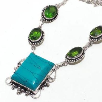 Tqa 298b collier parure sautoir turquoise peridot 21gr 22x28mm tibet achat vente bijou argent 925
